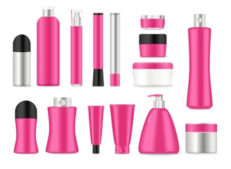 Blank pink cosmetic tubes on white background