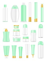 Cosmetic tubes on white background. Green, white, golden colors
