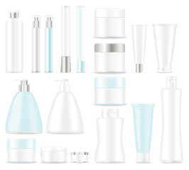 Blank cosmetic tubes on white background