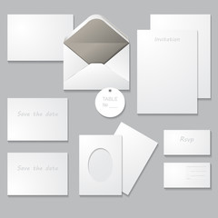 Set of wedding templates isolated on gray background