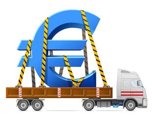 Transportation of euro symbol. Sign of money in back of truck