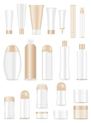 Blank light brown cosmetic tubes on white background