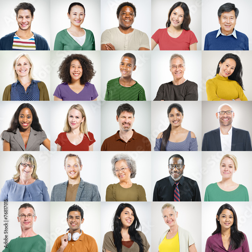 People Faces Portrait Multiethnic Cheerful Group Concept - 76817015