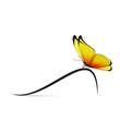 Papillon jaune courbe à droite