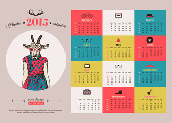 Calendar template hipster design. Year of the goat.