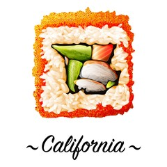 Maki-zushi California sushi roll