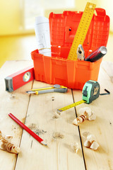 Still life with various working tools on the wooden workbench
