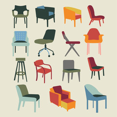 Set icons of chairs interior furniture