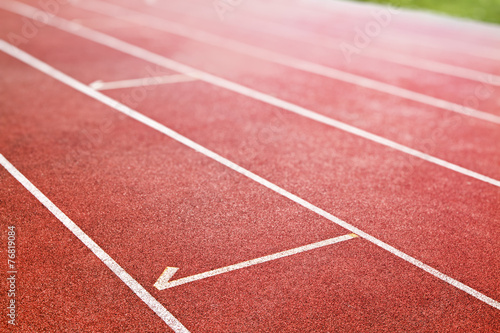 Foto op Canvas Stadion red running track