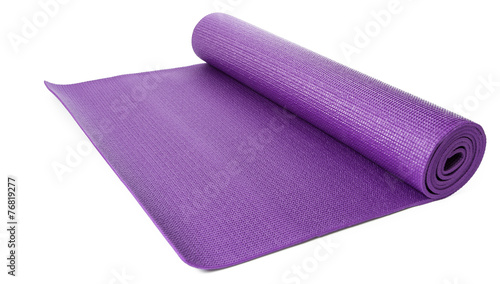 Close up purple yoga mat for exercise isolated - 76819277