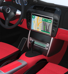 Car multimedia navigation with red interior design