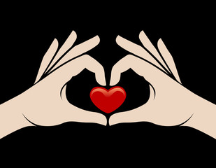 Hands heart sign