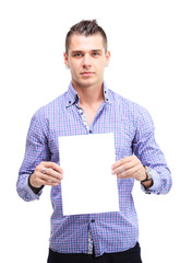 Happy business man presenting and showing with copy space