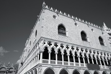 Venice palace. Black and white.