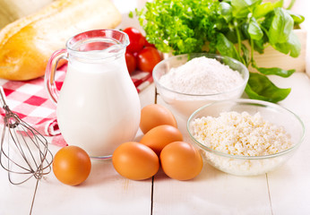 raw eggs, milk, cottage cheese and flour