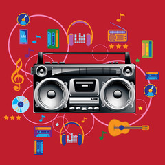 Boom box on colorful background