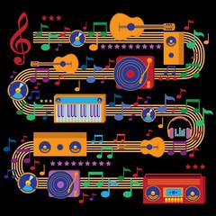 Modern colorful music design