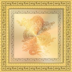 illustration: gold frame, the dragon