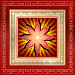 illustration: gold frame, lotus flower