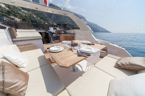 lunch on motor boat, Table setting at a luxury boat. - 76821032