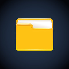 Folder icon with paper on white. Vector