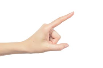 Woman hand touching virtual screen.