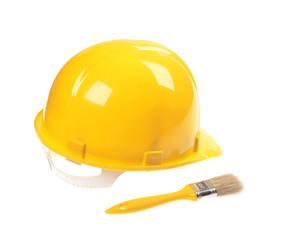 Yellow helmet ,  brush isolated on white bacgrouned