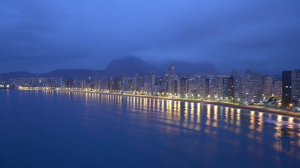time-lapse of the city of Benidorm at dawn