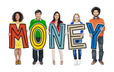 Group of People Standing Holding Money Concept