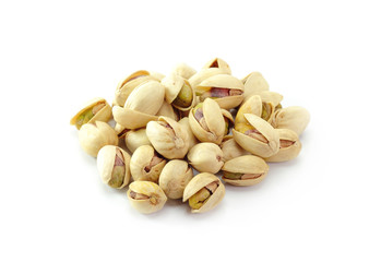 Heap of pistachios nuts. isolated om the white background