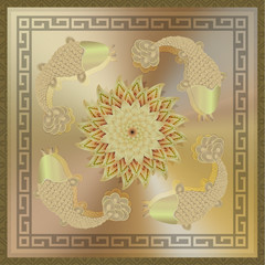 illustration: lotus flower, fish carp, golden.