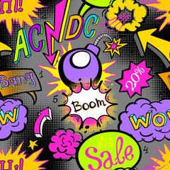 Comic book explosion pattern, vector illustration seamless