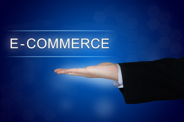 e-commerce button on blue background