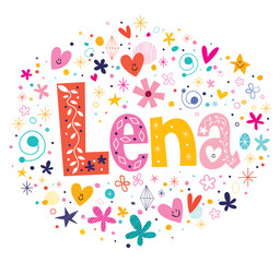 Lena female name design decorative lettering type