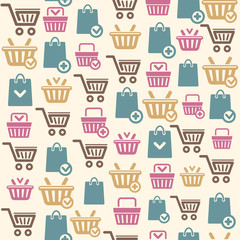 Vector Set of shopping cart icons pattern