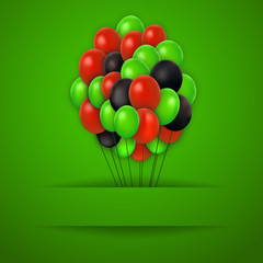 colorful balloons. Vector red background.