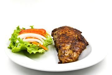 Grilled Chicken Steak with Salad isolated on white background.