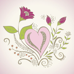 Heart with flowers vector illustration