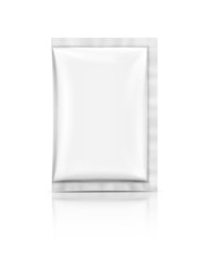 blank foil sachet isolated on white background