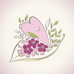 Smiling heart illustration - motive for Valentine's Day card