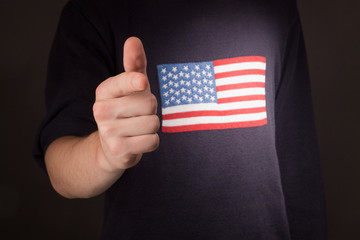man's hand pointing at you with american flag