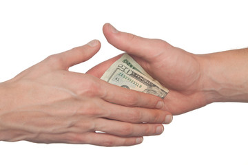 hand giving a bribe, corruption concept, isolated on white