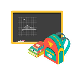 illustration of school board, books and schoolbag