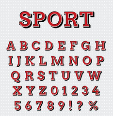 Sport style letters set