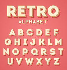 Colorful retro 3d characters set