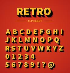 Retro 3d alphabet with shadow