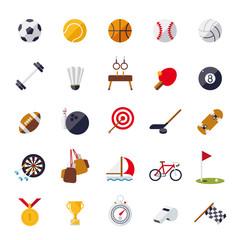 flat design sports and gymnastics vector icons set