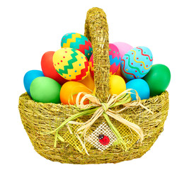 Painted Easter Eggs in decorated Basket on white background