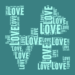 Blue and green vintage pop art style words cloud LOVE