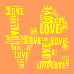 Orange and yellow vintage pop art style words cloud LOVE